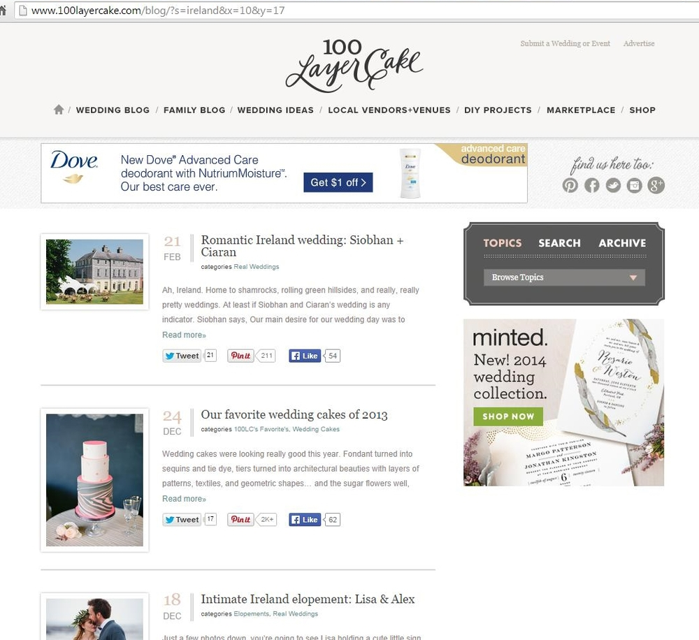 "My favorite wedding blog is   100 Layer Cake  . I typed ""Ireland"" into the search box."