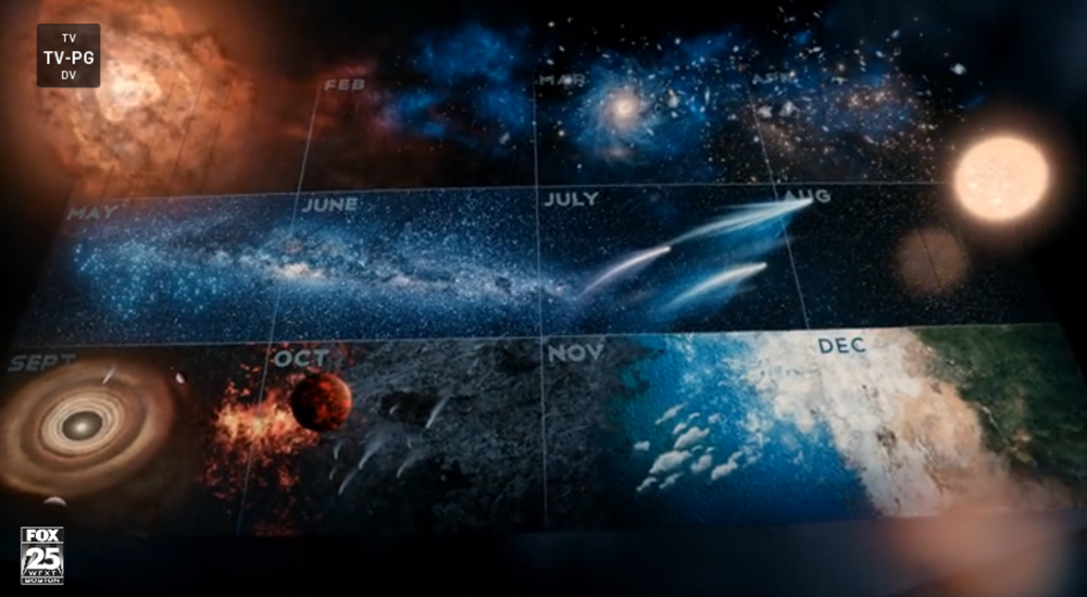 "Screenshot of the ""Cosmic Calendar"" in COSMOS Episode 1"
