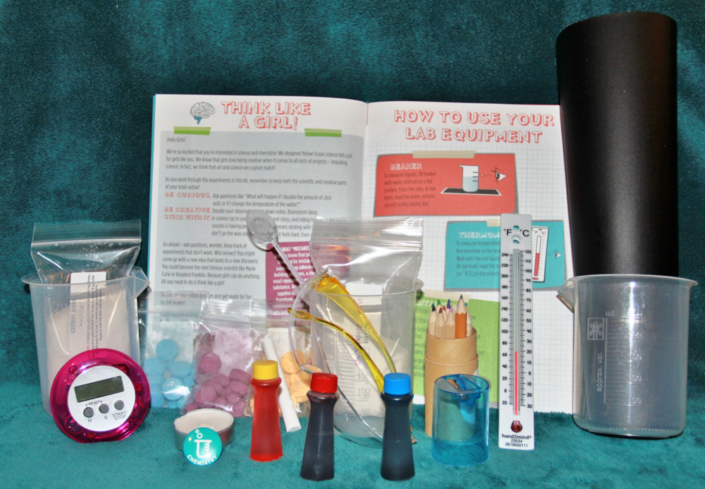 All of the Components in the Yellow Scope Chemistry Kit