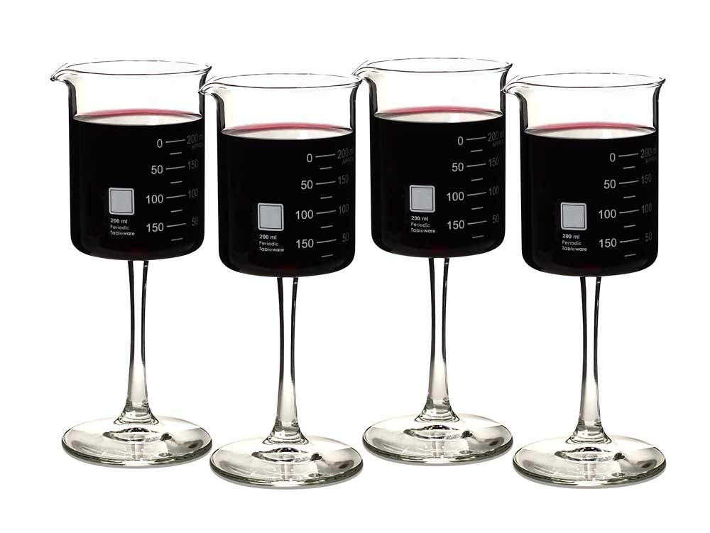 Beaker Wine Glasses   For the scientist in your life who loves wine but can never truly leave the laboratory.