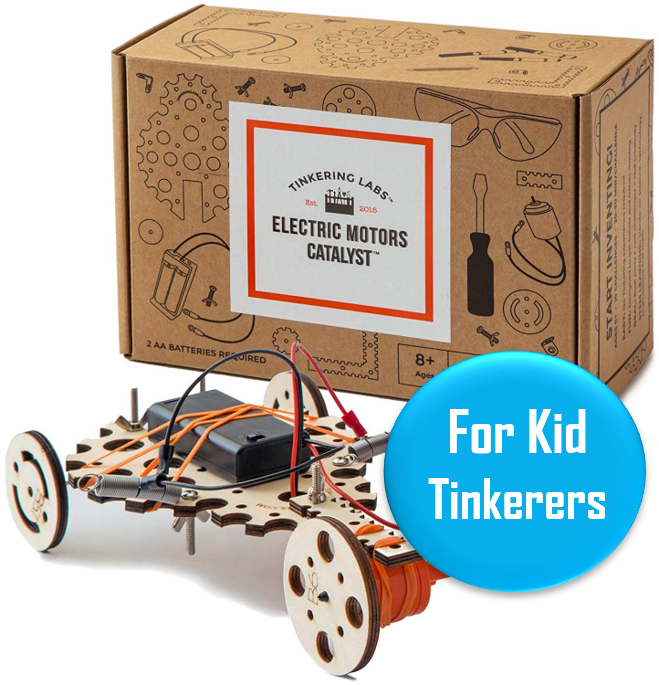 """Tinkering Labs - Ages 8+   This kit has 4.7/5 stars on Amazon and provides a fun way for kids to learn about basic electronics through building something of their own. Promising review """"I purchased this for my STEM- minded 12 year old. Here is his review:"""" I have received many stem toys before and this is by far the best I have ever received. It inspires my creativity by letting me build what ever I want to build with unlimited possibilities."""""""