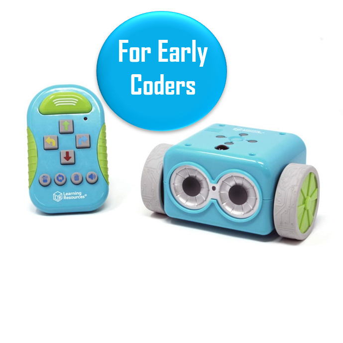 """Botley the Programmable Robot - Ages 5-8   Botley is a great kid for ages 5+ that will teach the absolute basics of programming. A great first """"coding toy"""" for beginners. Promising review: """"My 5 yr. old son loves Botley! He has such a cute little voice and sounds so friendly. The set includes such a nice variety of pieces. You can use the 12 cubes and 8 rods to construct a maze that Botley can then be programmed to run through. The cubes can also be stacked to construct a small wall, that Botley can then be programmed to run into and knock down with his attachable arms."""""""