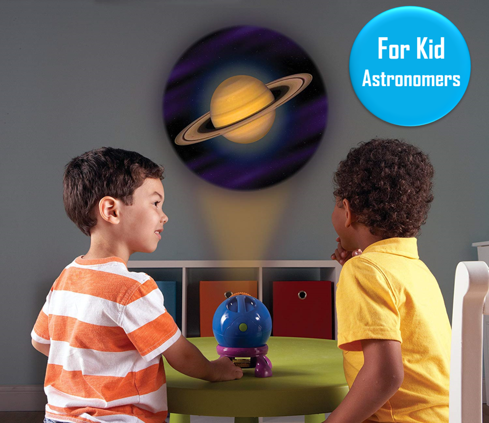 Shining Star Projector - Ages 3+   This projector allows kids to shine 24 different space images on their wall. From a solar eclipse, to space walks, to the swirly atmosphere of Jupiter - this is a great toy to help teach young kids about space.