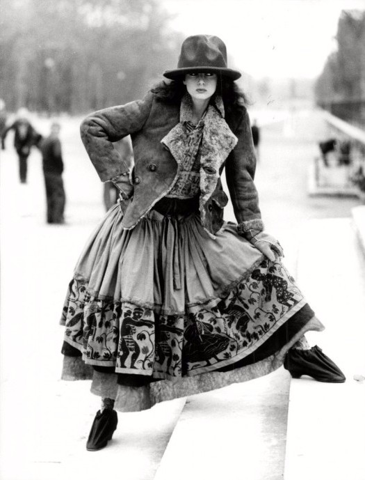"A model wearing an outfit from Westwood's 1982 ""Buffalo"" collection."