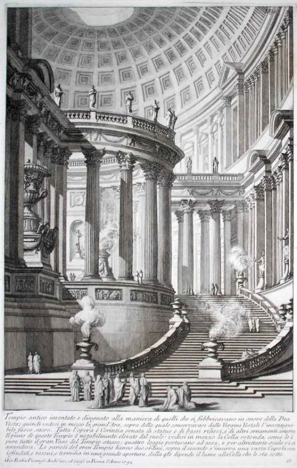 Ancient Temple Invented And Designed In The Manner Of Those That Were Manufactured In Honor Of The Goddess Vesta (Recorded In 1743). Giovanni Battista Piranesi