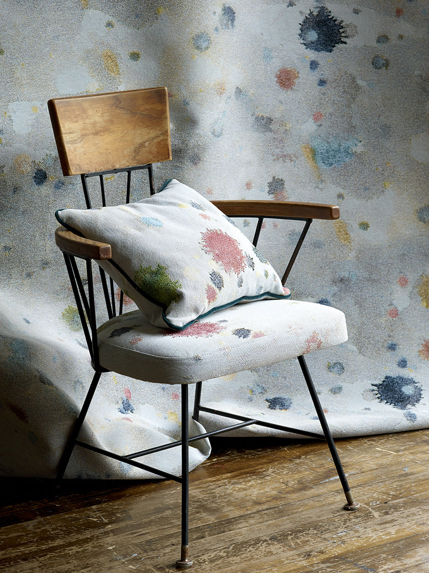 "From the top: Drippy Jacquard, Dropcloth Moss jacquard with a MTS/Dove Drury Hornbuckle ""Quarry"" lamp in bronze, Blotch jacquard on a 50's Italian sofa, Still life of paint splattered cardboard, the studio bedroom with Accidental Expressionist tapestry photographed for New York magazine, Splat Red jacquard on a vintage dining chair."