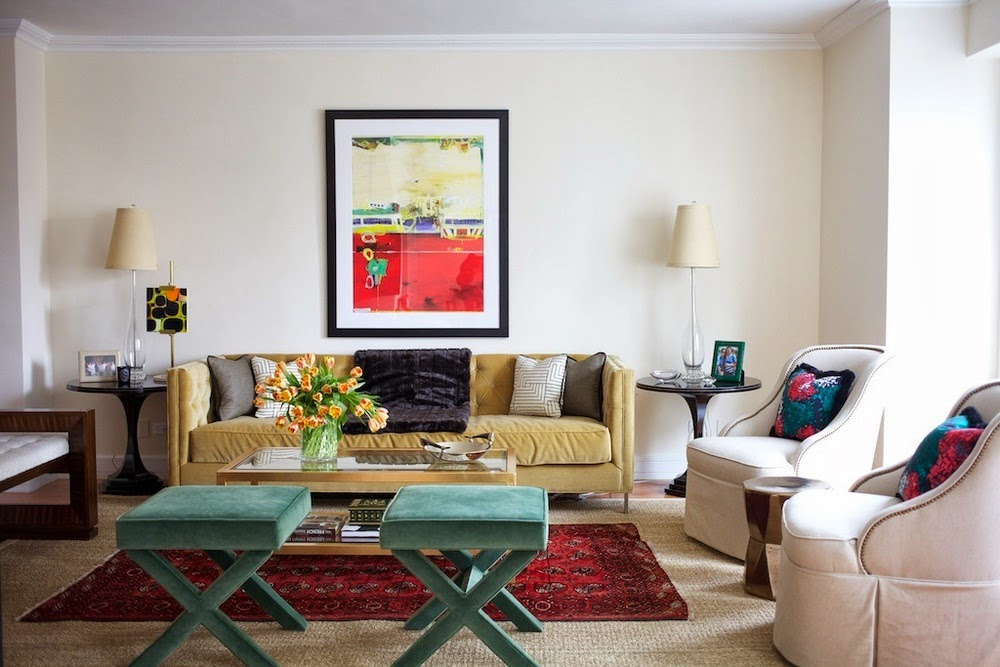 The color accented mix of furniture styles and a touch of pattern to