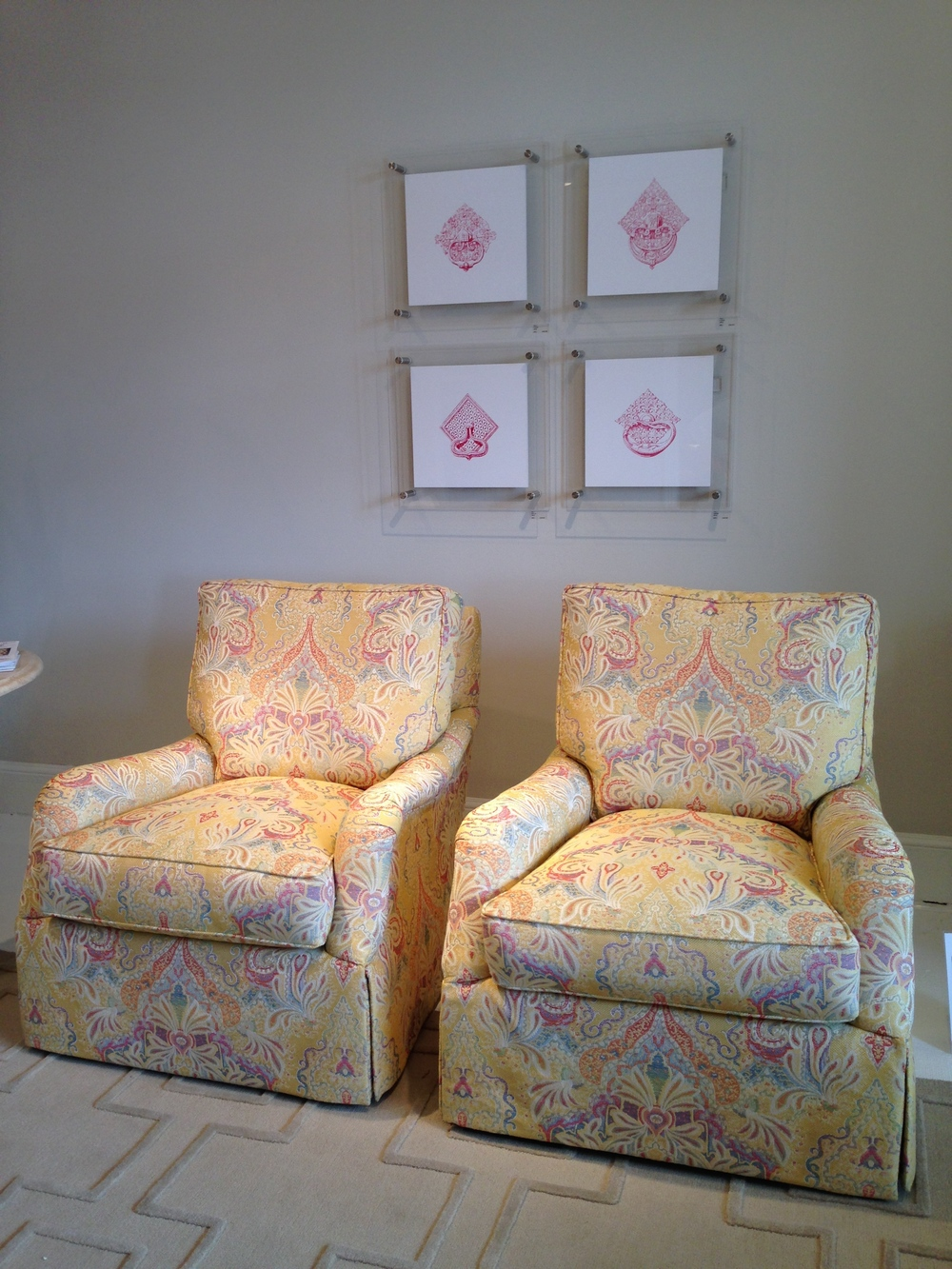Covered In A Sunny Yellow Almost Neo Batik Print, Matching Reading Chairs  With Tailored Skirts Make The Perfect Bedroom Chair.