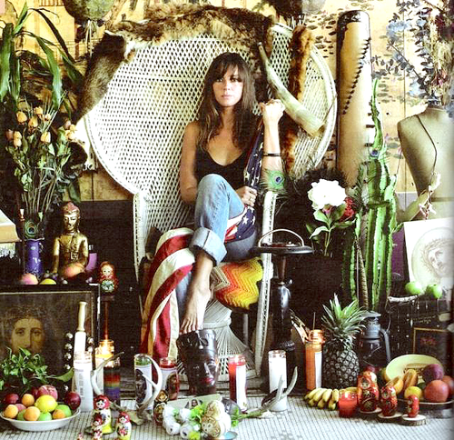Singer Cat Power surrounded by bohemian splendor