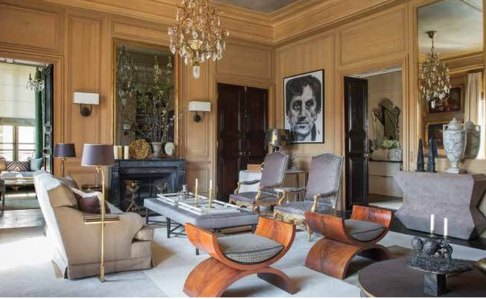 A Parisian drawing room with pale wood panelling