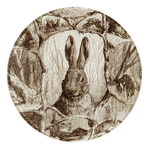 Photo courtesy of John Derian  A sepia-toned bunny plate from  John Derian
