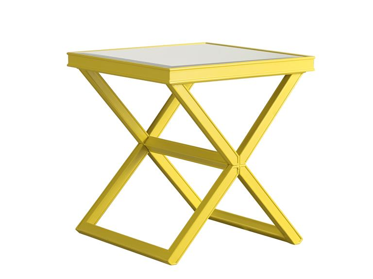 Vintage Zingy yellow gives this x base mirror topped table an eye catching allure