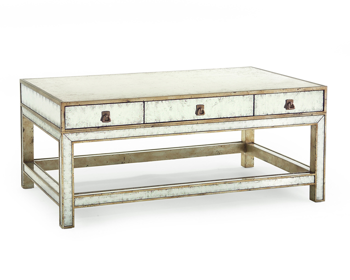 Unique The Eglomise Coffee Table has six drawers providing easy storage and understated hardware that blends well with the aged mirror surface
