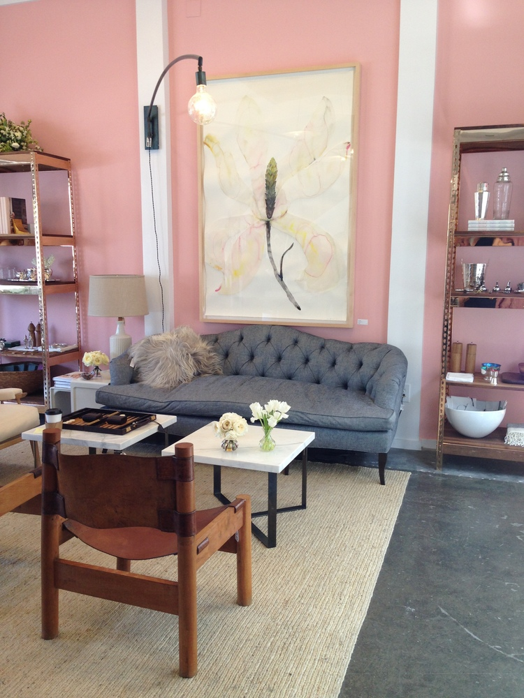 the nickey kehoe designed goop pop up in the brentwood country mart last year featured chic aged leather sling chairs