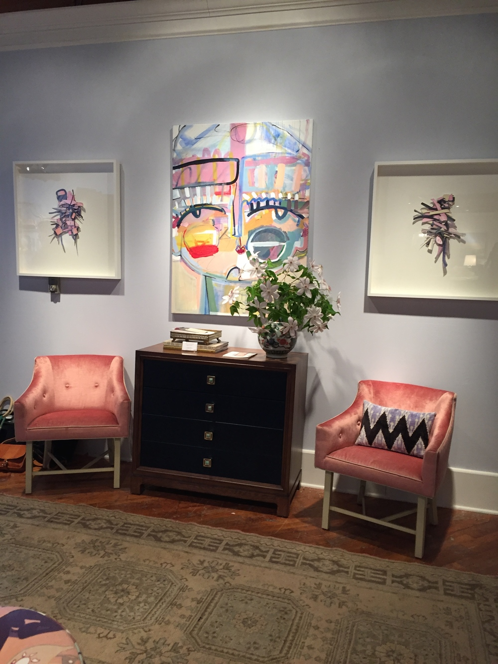 A Wood Base Tufted Upholstered Seat And Curved Arm In The McGraw Chair Make It Most Feminine Piece Collection Colorful Contemporary Art From