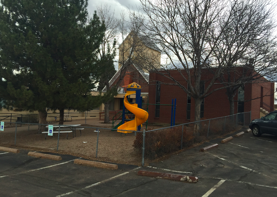 Along with at least 8 classrooms, GracePoint has a playground and a large fellowship hall.