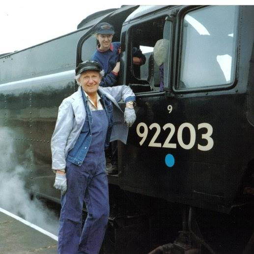 Part of the relief crew on Black Prince at the ELR with the late artist, conservationist and steam enthusiast David Shepherd