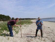 Jason Eldredge (left) and Chris Adams, profiling the beach at low tide.