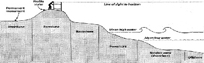 "A Typical Dune and Beach Profile Courtesy of WHOI Sea Grant Program, 2001, Marine Extension Bulletin ""Beach and Dune Profiles: An Educational Tool for Observing and Comparing Dynamic Coastal Environments"" by Jim O'Connell"