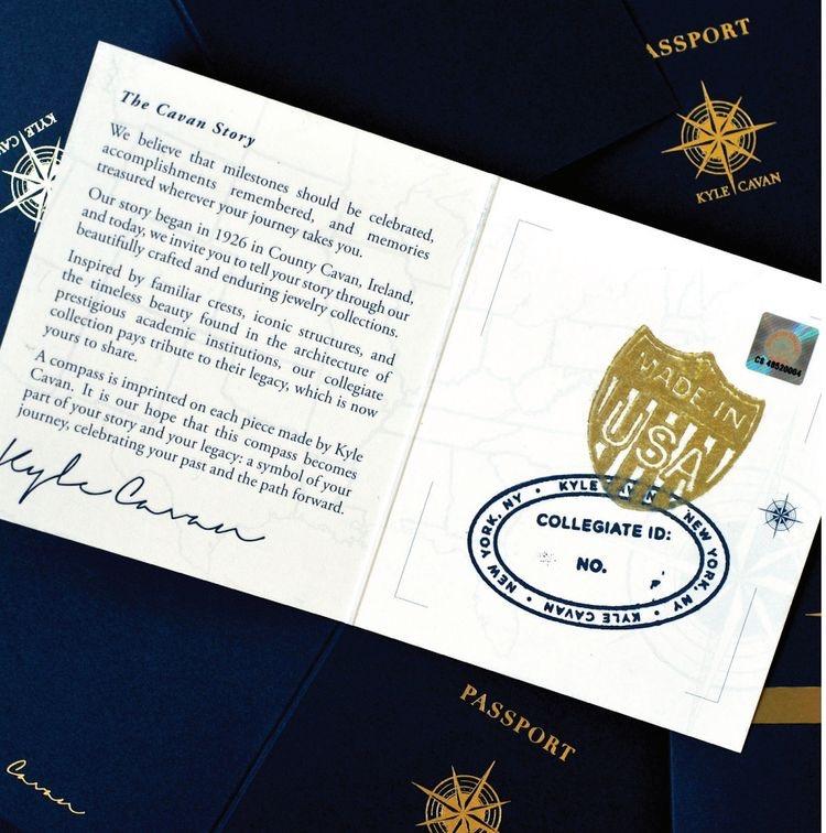 Kyle Cavan Packaging includes a miniature passport.