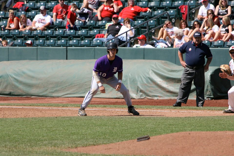 Ryan Maloney occupies first base in the State Championship game