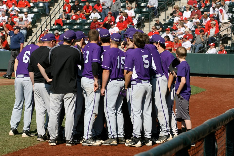 The Stallions huddle before taking the field in the State Final