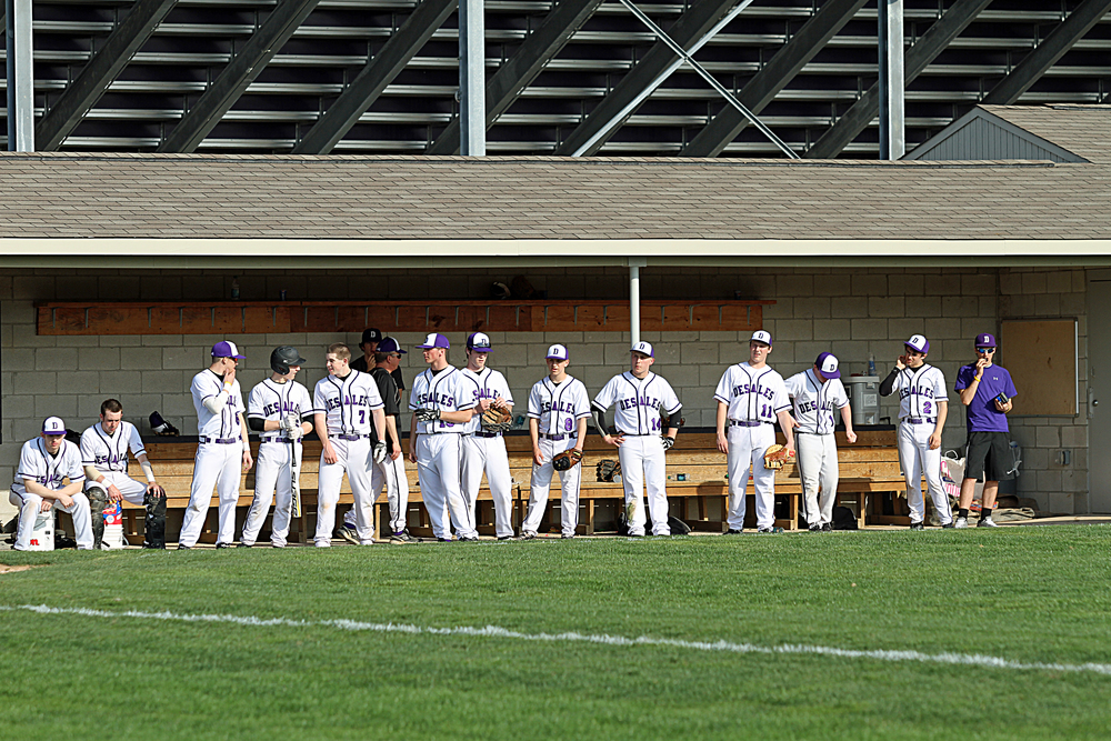 The Stallions look on from their home dugout