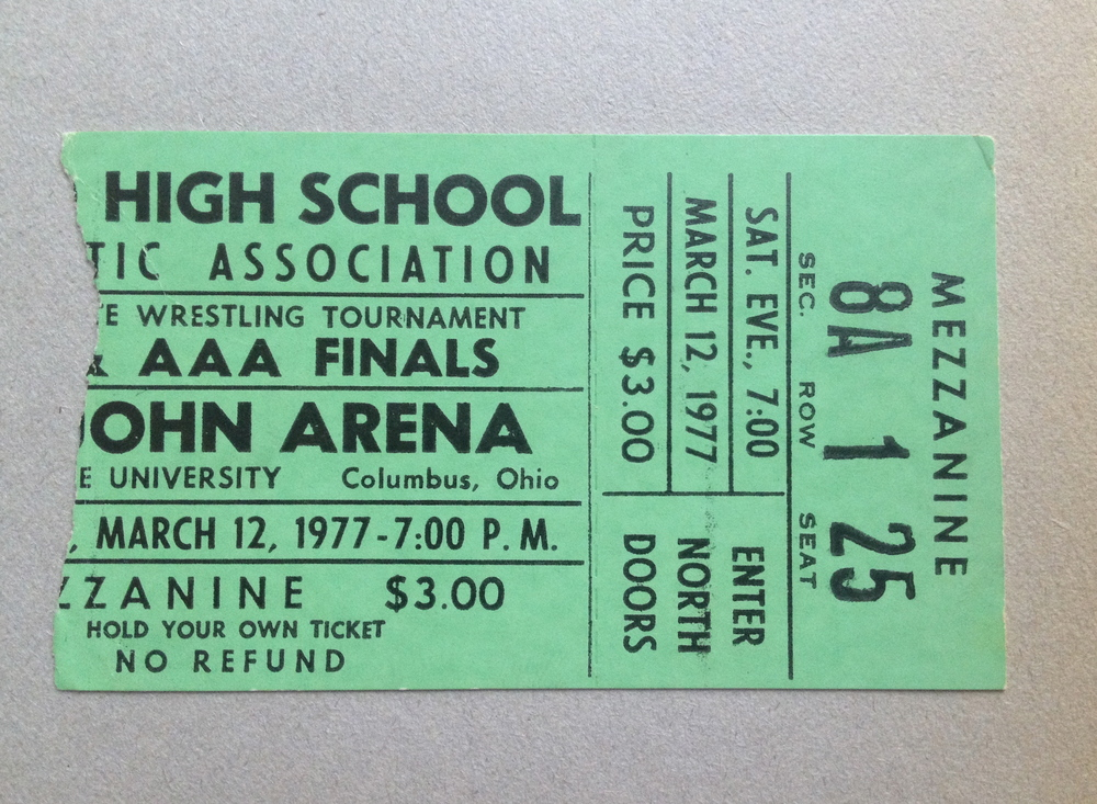 1977 OHSAA State Tournament Ticket Stub