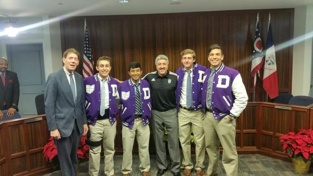 2015 team members with SFD alumnus and Franklin County Prosecutor Ron O'Brien '66