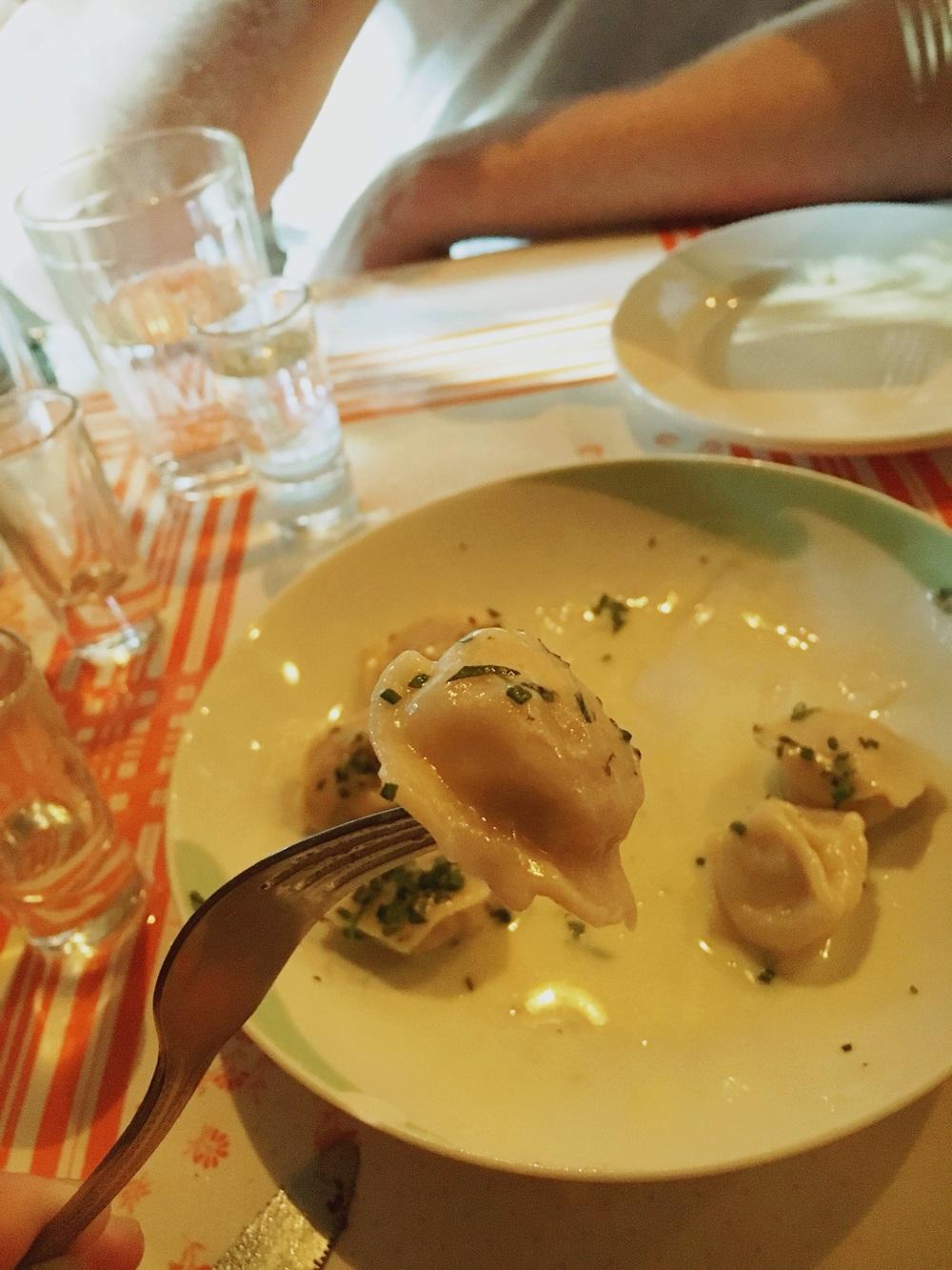 siberian pelmeni dumplings -beef, pork, veal and onion.