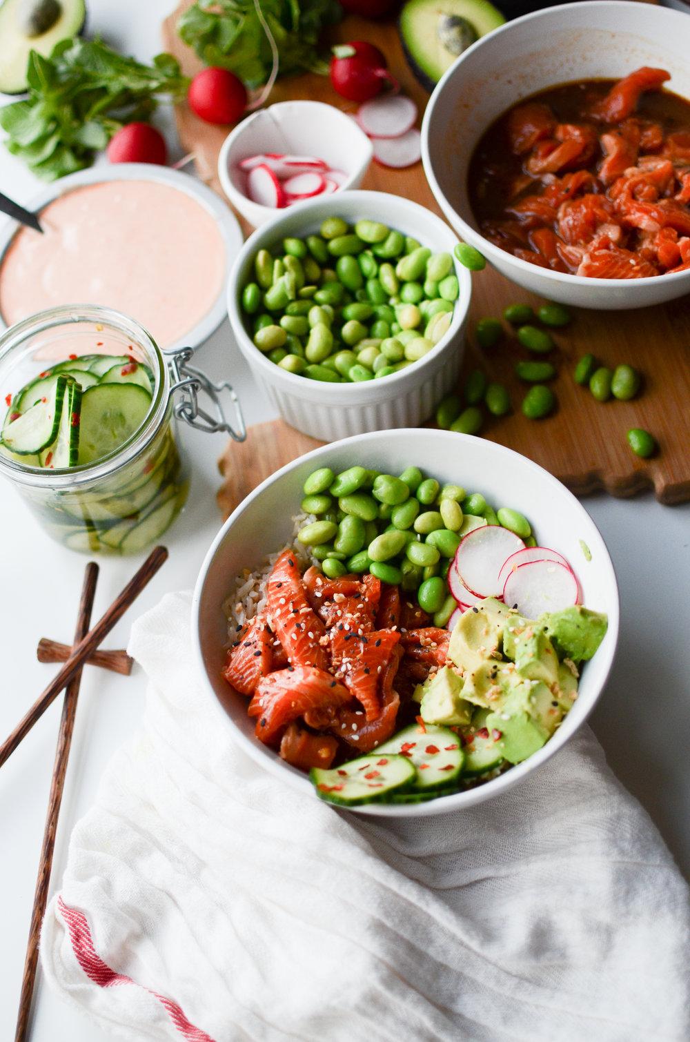 Easy Salmon Poke Bowls