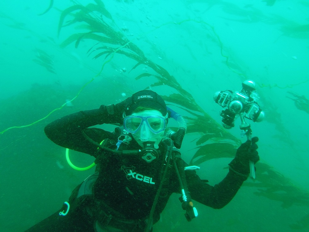 Amber Jackson models the Lollipop camera among the kelp fronds. Fabulous.