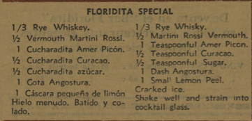 Menu Floridita 1936