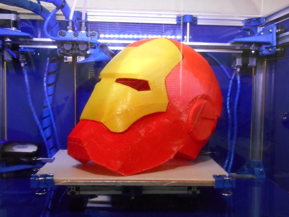 Fully Assembled Iron Man Helmet. Print Time: 43hr