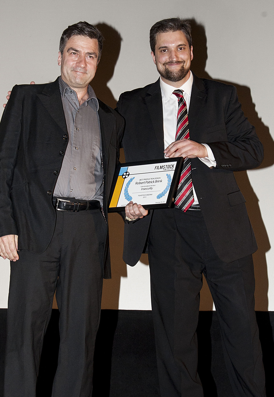 Festival Director James A Lee (right) with filmmaker Robert Brink (left) during 2013 Filmstock Arizona.