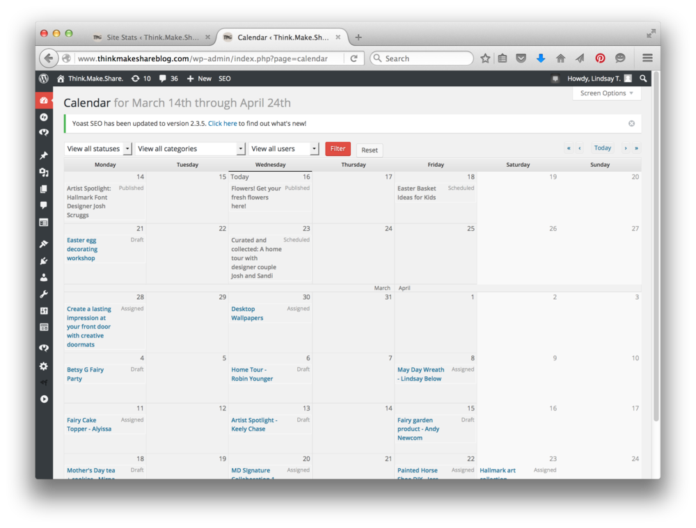 Wordpress : Content Calendar