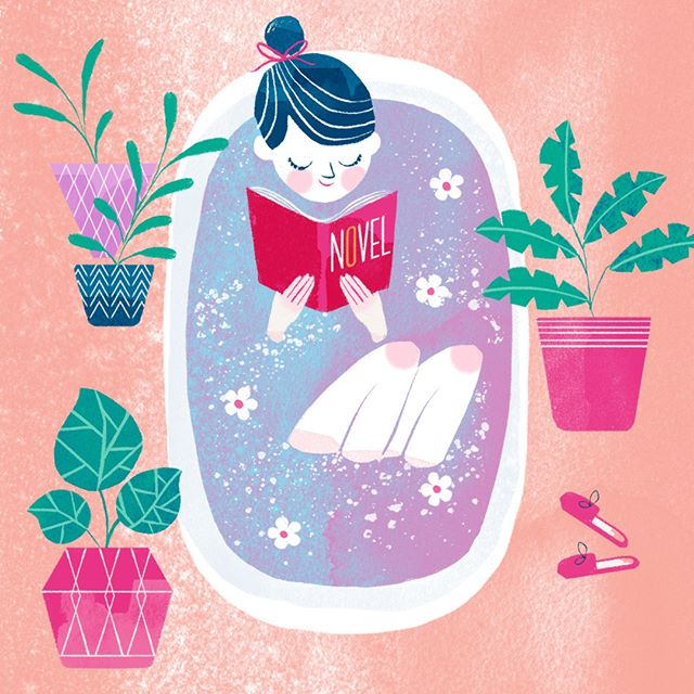 """Warding off the Sunday Scaries like...🛁📚💜. Tag someone to remind them to take some """"me time. #SelfCareSunday #SelfCare #SelfLove #Sundayscaries"""