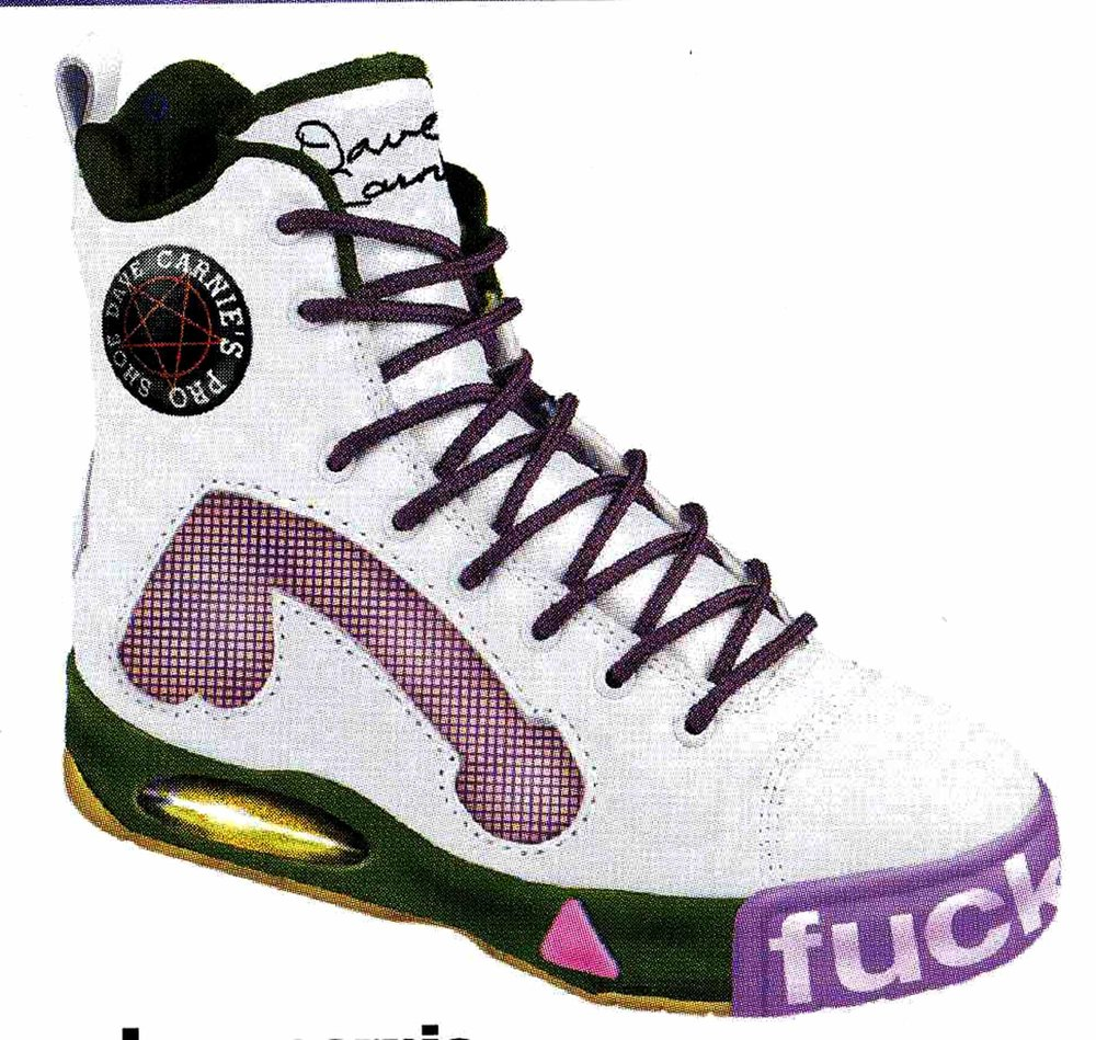 "The original DC signature shoe as it appeared in the big brother ""shoe issue."" Design by the great cobbler, Jeff tremaine."