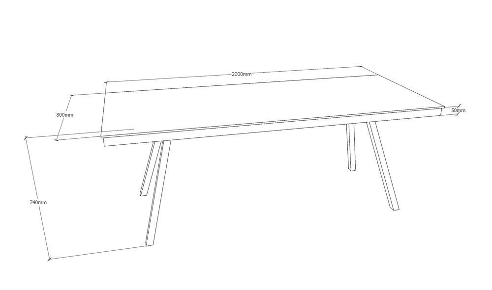Skrivebord - 200 x 80 cm    - med spang stel i mat sort  Pris 12.450,00 Kr.