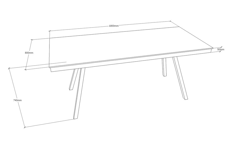 Skrivebord - 180 x 80 cm    - med spang stel i mat sort  Pris 11.550,00 Kr.