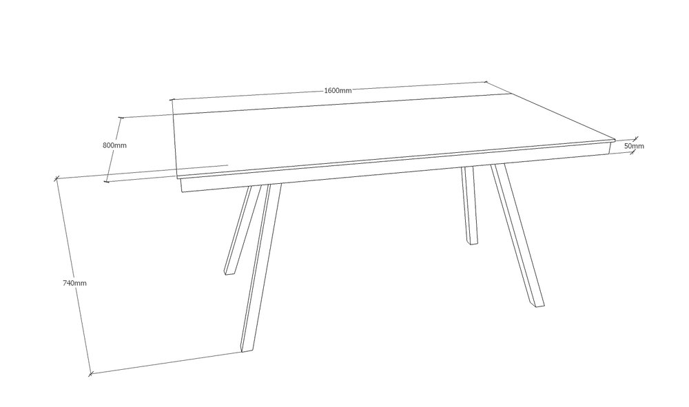 Skrivebord - 160 x 80 cm - med spang stel i mat sort Pris 10.650,00 Kr.