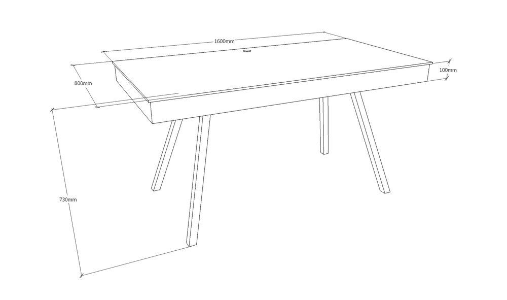 Skrivebord - 160 x 80 cm - med kabelbakke - med spang stel i mat sort Pris 11.450,00 Kr.