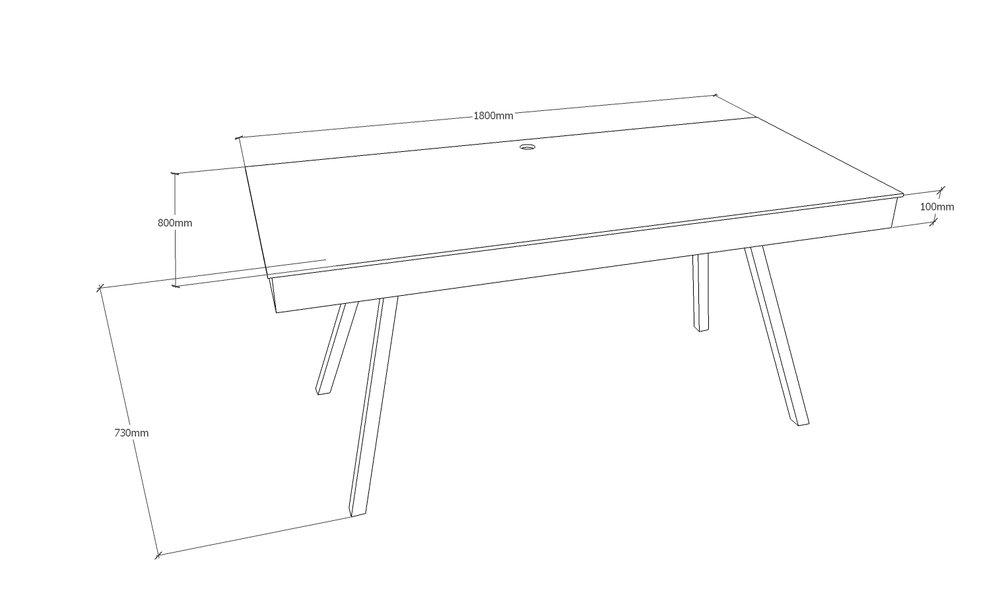 Skrivebord - 180 x 80 cm    - med kabelbakke  - med spang stel i mat sort  Pris 12.350,00 Kr.