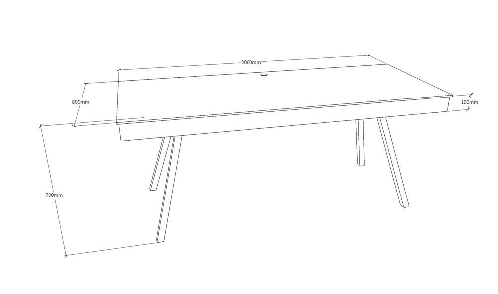 Skrivebord - 200 x 80 cm - med kabelbakke - med spang stel i mat sort Pris 13.250,00 Kr.