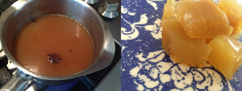 i made apple spiced (cinnamon, star anise, nutmeg + clove) gelatin squares with grass fed gelatin.