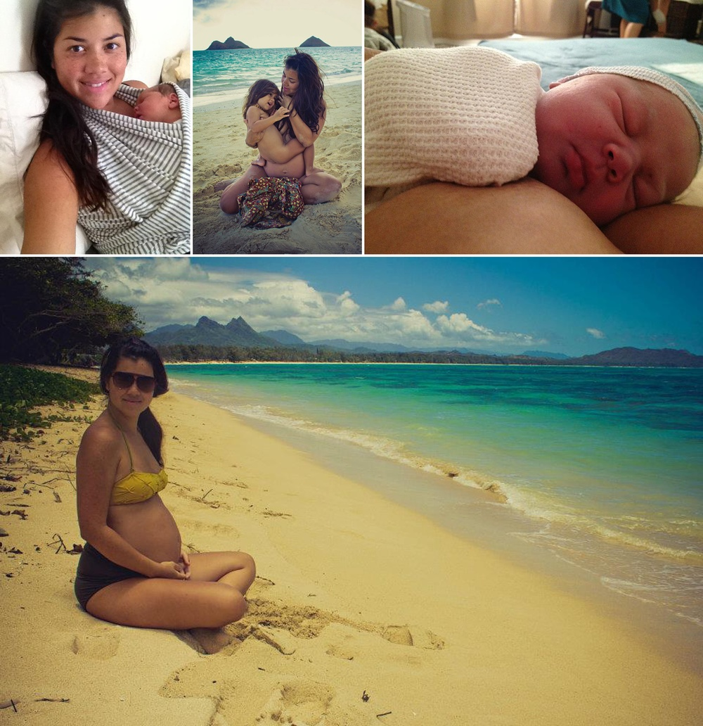 Clockwise LR: the day you were born; Amaia + I for a morning swim about couple weeks before you were born; snuggled one hour after you were born; and lastly, second trimester on the beach with you.