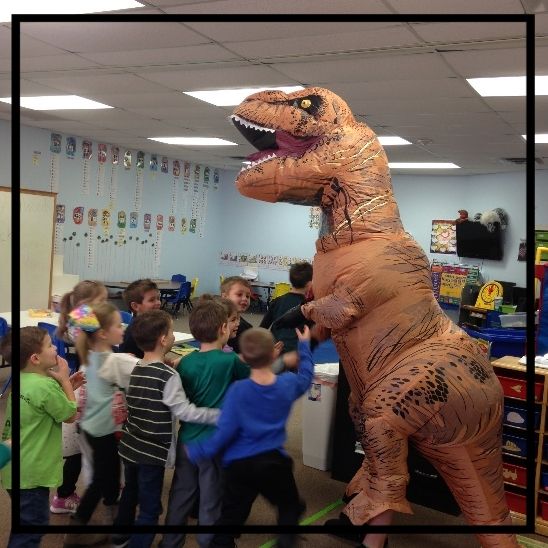 "A special ""thank you"" to Alex Snyder for our special dinosaur visit!"