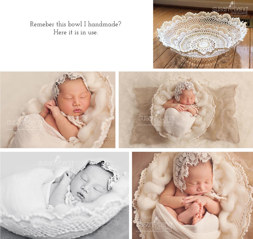 Newborn prop Doily Bowl