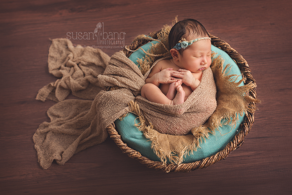 Newborn in rustic basket , teal colors