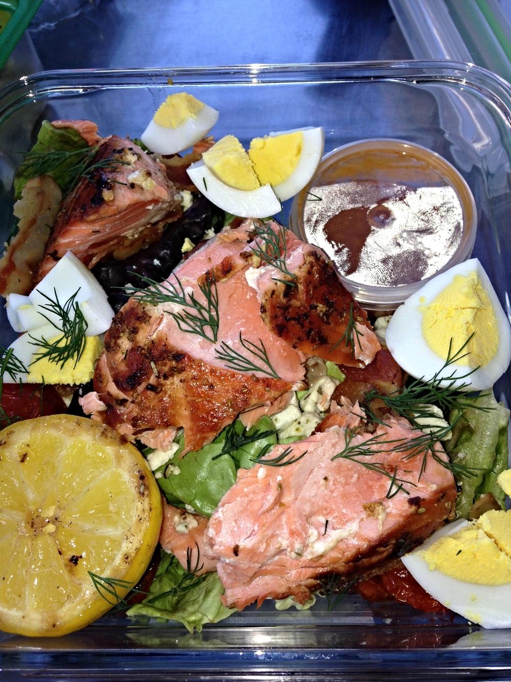 Salmon Cobb Salad with Roasted Tomato Vinaigrette